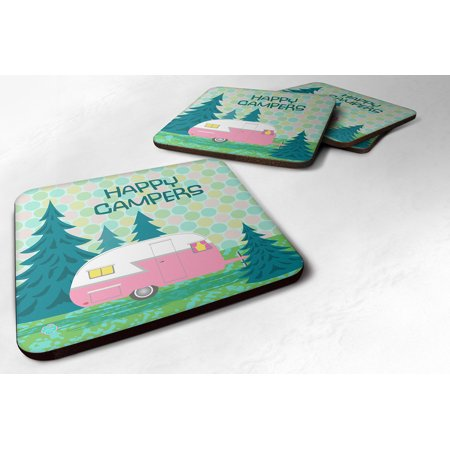 Set of 4 Happy Campers Glamping Trailer Foam Coasters VHA3004FC