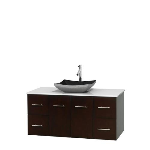 Bathroom Vanity 48quot; Espresso, WT Stone Top, Altair Black Sink, No Mir