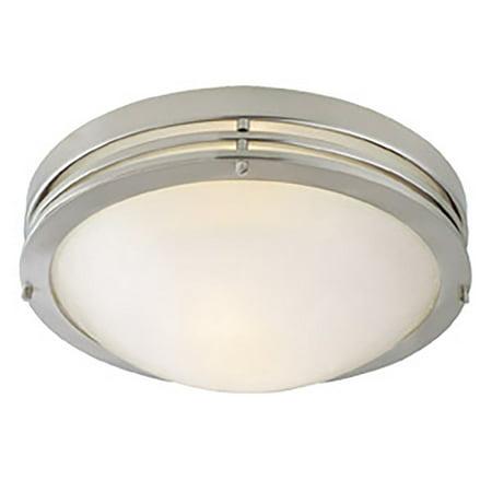 Design House 503284 Alabaster 2-Light Ceiling Mount, Satin Nickel Alabaster Bowl Ceiling Light