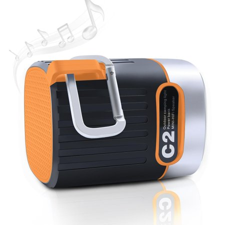 HKCB Outdoor Camping Light & Mini-HiFi Speaker, Wireless Stereo Speaker with HD Audio, LED Flashlight with 2 Modes, SD/TF Card Slot Best for Camping, Hiking and Outdoor Orange