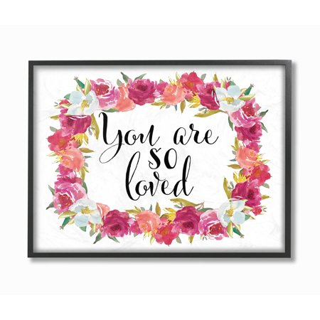 The Stupell Home Decor Collection You Are So Loved Floral Wreath Oversized Framed Giclee Texturized Art, 16 x 1.5 x 20