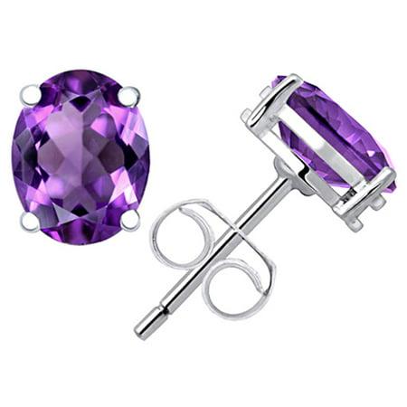 Stud Earrings For Women | Purple Amethyst Sterling Silver Stud Earrings | February Birthstone Earrings | Hypoallergenic Nickle Free Earrings | Tiny Stud Earrings Sensitive Ears | Dally Wear Earrings ()