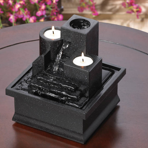 Zingz & Thingz Acrylic Temple Steps Polyresin Tabletop Fountain with Light