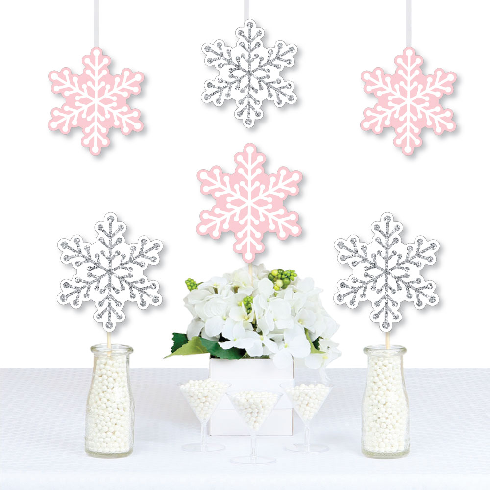 Pink Snowflake Die Cuts Winter Wonderland Party Supply 20 Count