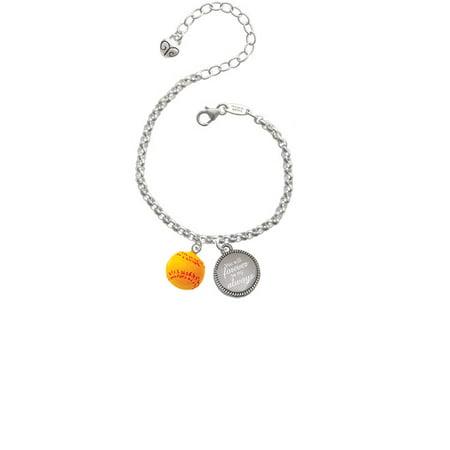 "Resin 1/2"" Softball You Will Forever Be My Always Engraved Bracelet"