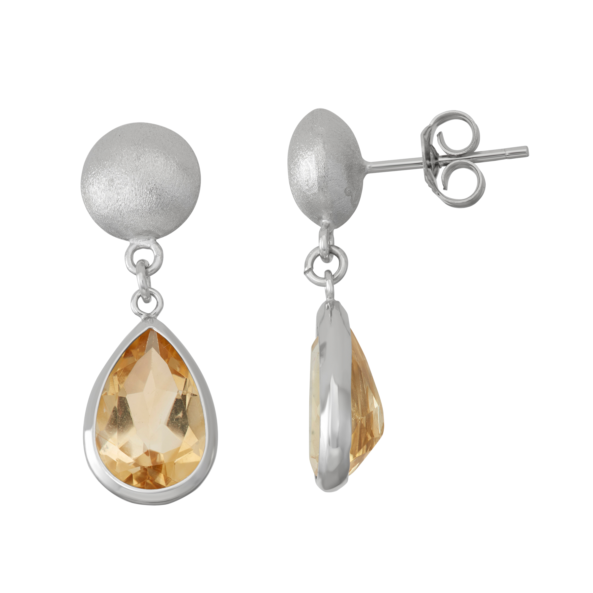Silver Bead and Bezel Teardrop drop Earring with Gemstone by Collection Bijoux