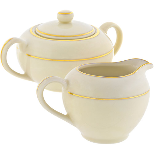 10 Strawberry Street Cream Double Gold 8 oz Creamer and 8 oz Covered Sugar, Set, Cream with Gold Border