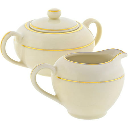 10 Strawberry Street Cream Double Gold 8 oz Creamer and 8 oz Covered Sugar, Set, Cream with Gold Border Gold Double Border