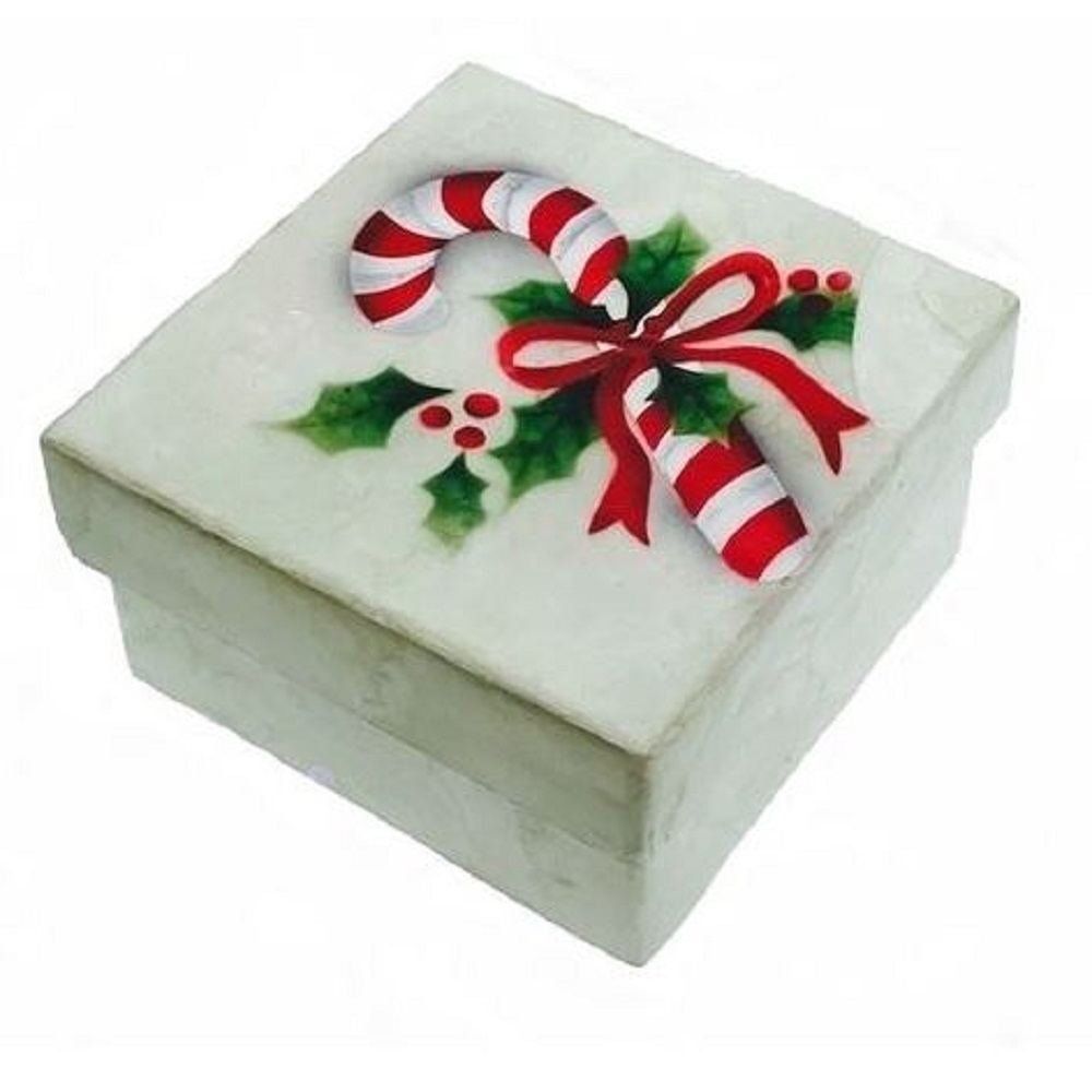 Candy Cane with Holly Christmas Capiz Jewelery Trinket Keepsake Box Container