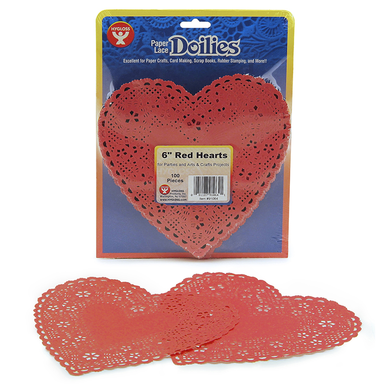 "Heart-Shaped Paper Lace Doilies, 6"", Pack of 100, Red"