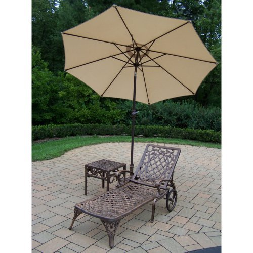Oakland Living Mississippi Cast Aluminum Chaise Lounge with Side Table & Tilting Umbrella with Stand