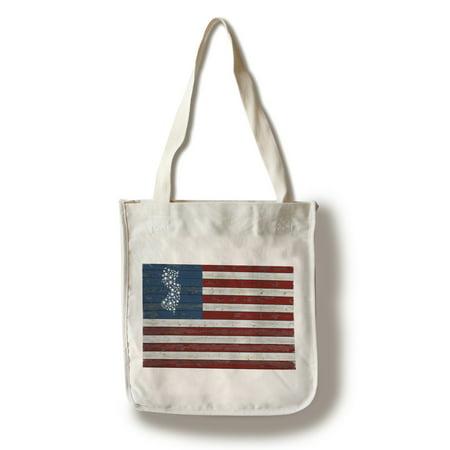 Veteran Jersey Tote (New Jersey - Distressed Flag - Lantern Press Artwork (100% Cotton Tote Bag -)