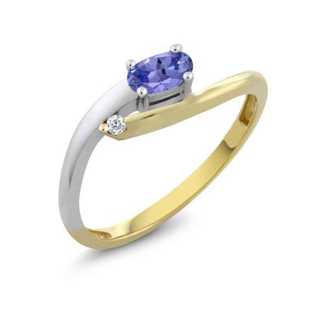 Women's Oval Blue Tanzanite 18K Two Tone Gold Diamond Ring