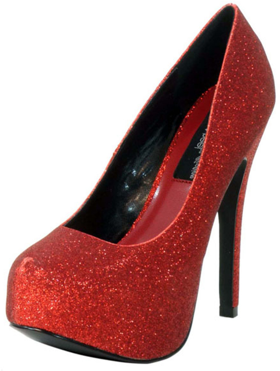 "Women's Highest Heel Shoes 5 1/2"" Covered Platform Pump - Red Glitter"