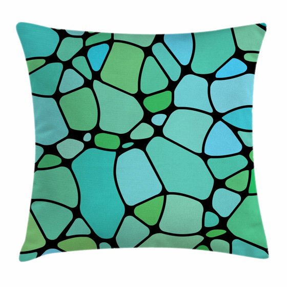 Seafoam Throw Pillow Cushion Cover, Mosaic Geometric Pattern Vintage Inspirations Abstract ...