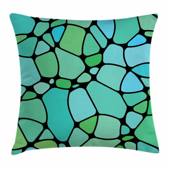 Seafoam Blue Decorative Pillows : Seafoam Throw Pillow Cushion Cover, Mosaic Geometric Pattern Vintage Inspirations Abstract ...