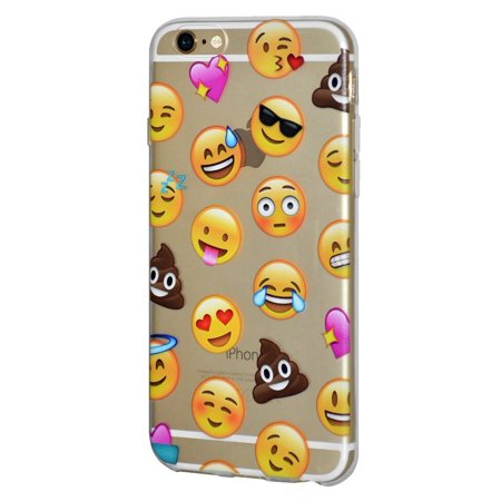Soft Gel Crystal Clear Transparent Emoji TPU Skin Case Cover for iPhone 6 Plus, iPhone 6s Plus - Different Emotions