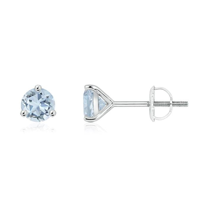 Angara Round Ruby Martini Stud Earrings 14k White Gold NEaKVfx