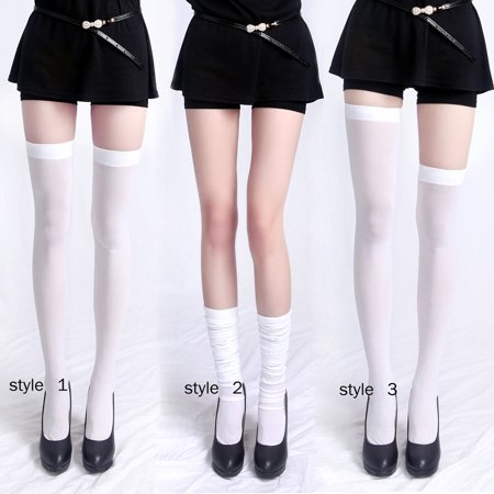 Women's Opaque Solid and Striped Thigh High Stockings Socks (White)