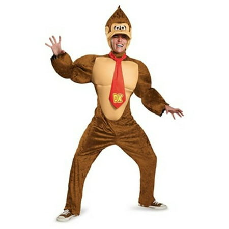 Super Mario Halloween Costumes Adults (Super Mario Brothers Donkey Kong Deluxe Men's Adult Halloween Costume,)