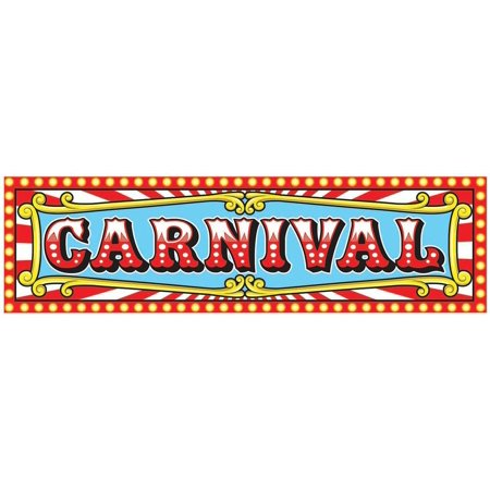 Long Carnival Style 5' Banner Pre-Printed Child Adult Carnival Party Accessory - Simple Carnival Costumes
