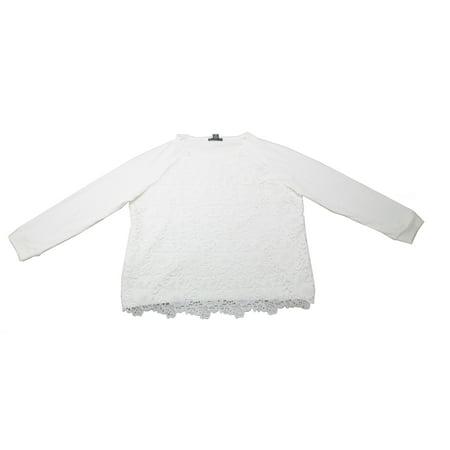 Adrianna Papell Womens Size 2X-Large Long Sleeve Lace Sweatshirt, Ivory