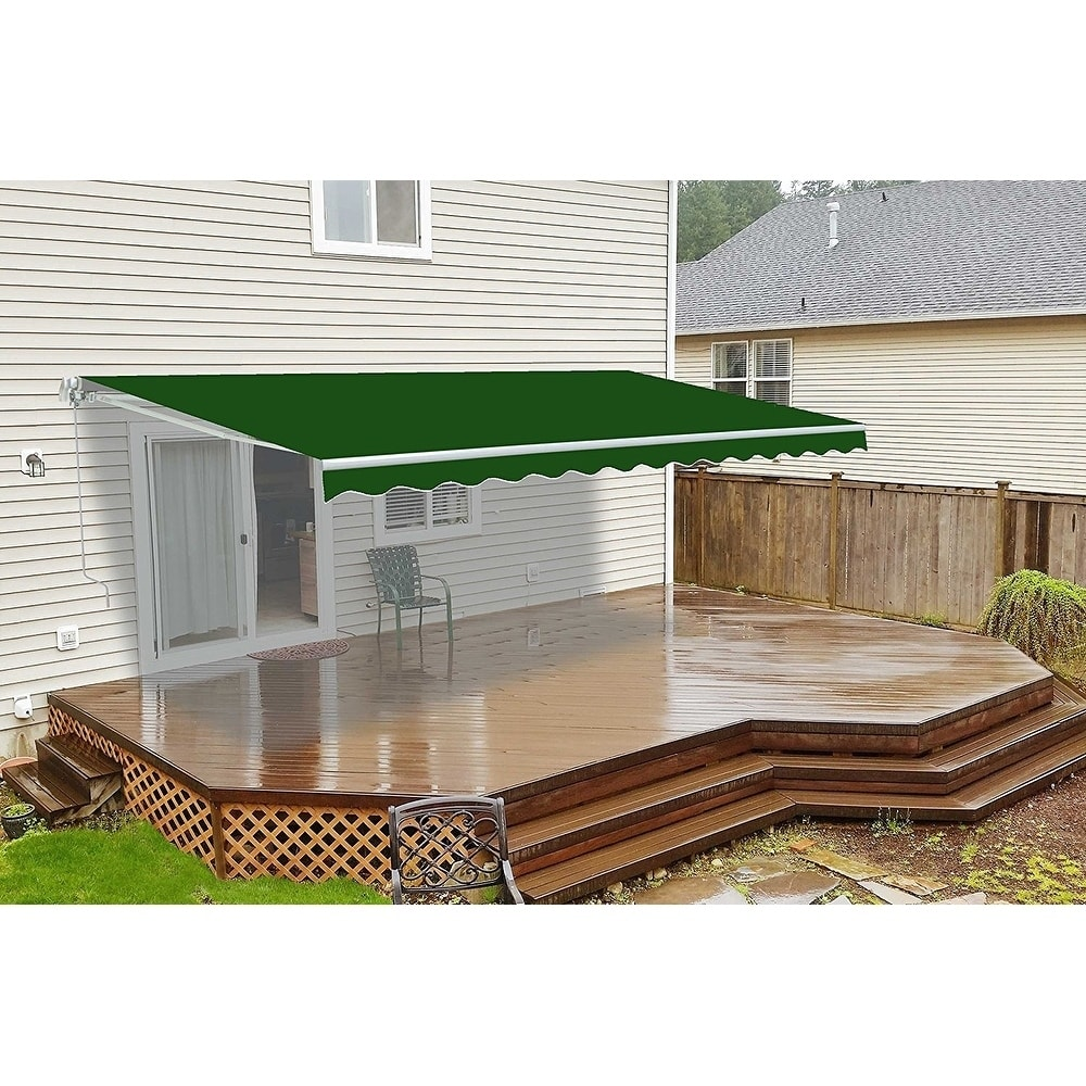 ALEKO 20'x10' Motorized Retractable Patio Awning, Green Color
