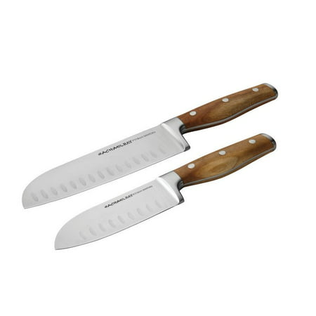 Rachael Ray Cucina Cutlery 2-Piece Japanese Stainless Steel Santoku Knife Set with Acacia