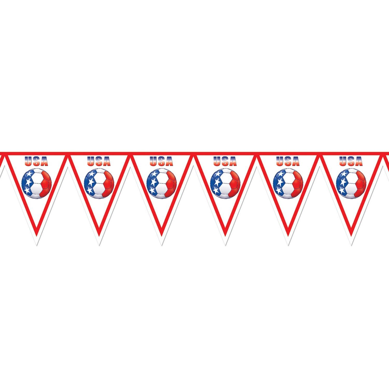 "Pack of 6 Red, White and Blue ""USA"" Soccer Themed Pennant Banner Party Decorations 7.4'"