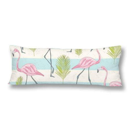 GCKG Cute Flamingos Palm Birds Stripes Body Pillow Covers Case Pillowcase 20x60 inches Couch - image 2 de 2