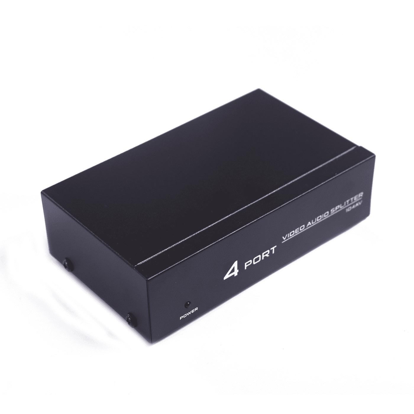 HDE 4 Port RCA Composite Video Audio DC Powered Splitter Box