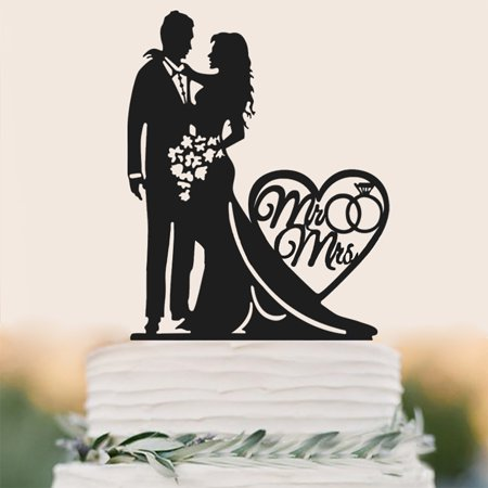 Wedding Cake Toppers Creative Romantic Bride Groom Couple Anniversary Wedding Cake Decorations Party Cake Supplies Accessories Black