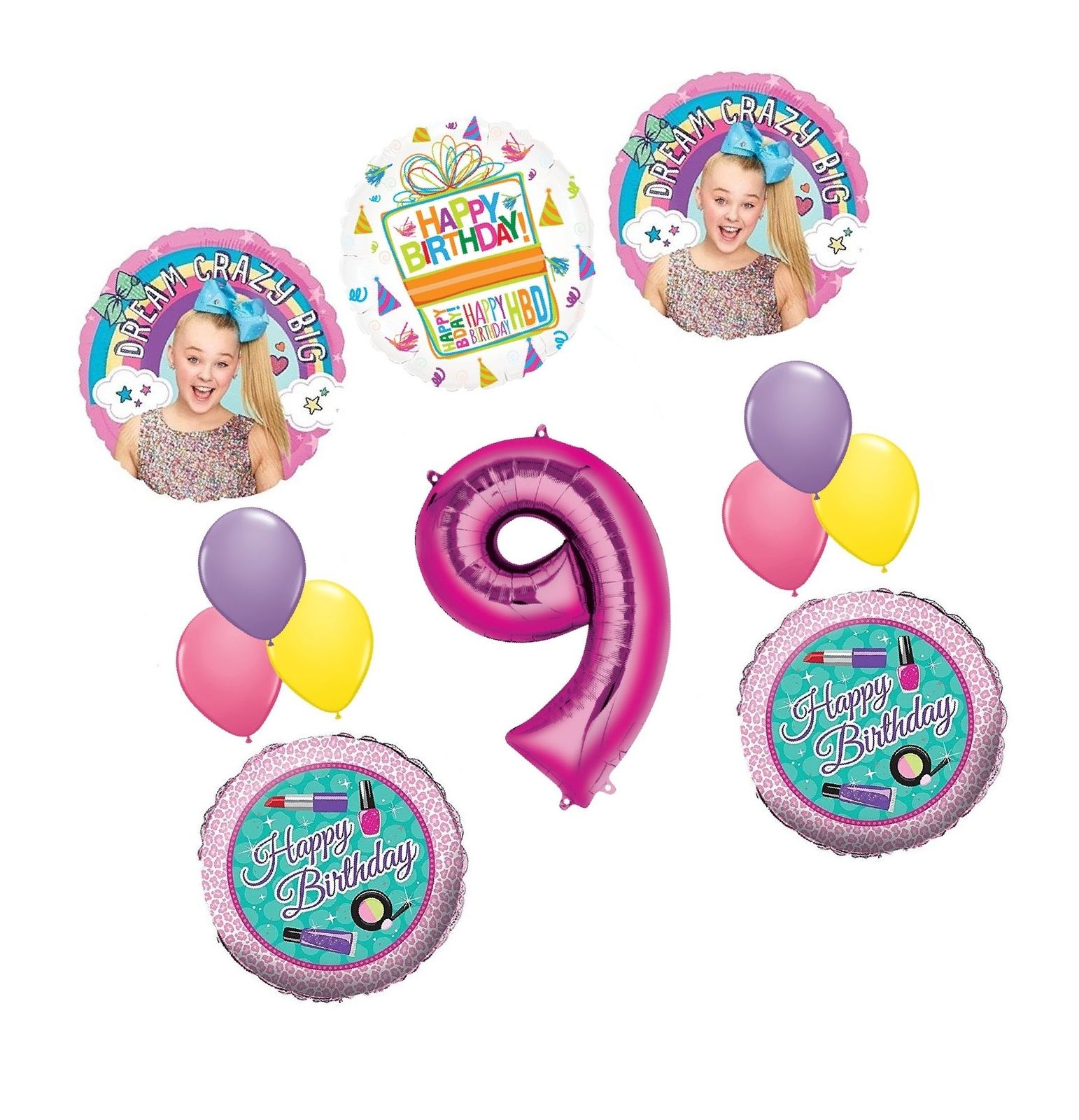 JoJo Siwa Party Supplies Dream Crazy Big 9th Birthday Balloon Bouquet Decoration