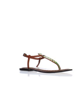 436fc39c026f Product Image Sam Edelman Womens F0142l1 Brown T-Strap Sandals Size 10.5
