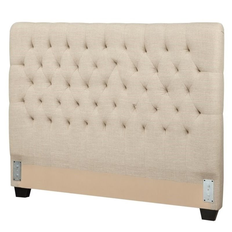 Bowery Hill Upholstered California King Headboard in Oatmeal