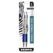 Zebra F-301 ballpoint stainless steel retractable pen, 0.7mm, blue ink, 2-Pack