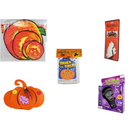 Halloween Fun Gift Bundle [5 Piece] - Classic Pumpkin Cutouts Set of 9 -  Resin