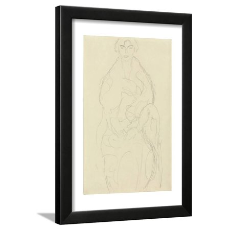 Seated Woman from the Front, C.1917-18 Framed Print Wall Art By Gustav Klimt (Front Seat Frame)