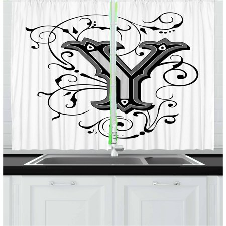 Letter Y Curtains 2 Panels Set, Calligraphy Inspired Medieval Capital Letter Alphabet Symbol European Design, Window Drapes for Living Room Bedroom, 55W X 39L Inches, Black Grey White, by Ambesonne - Medieval 2 Letter