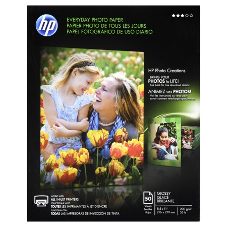 HP Everyday Photo Paper, Glossy, 8-1/2 x 11, 50 Sheets/Pack -HEWQ8723A 4x6 Glossy Photo Paper
