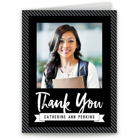 striped spirit graduation thank you card