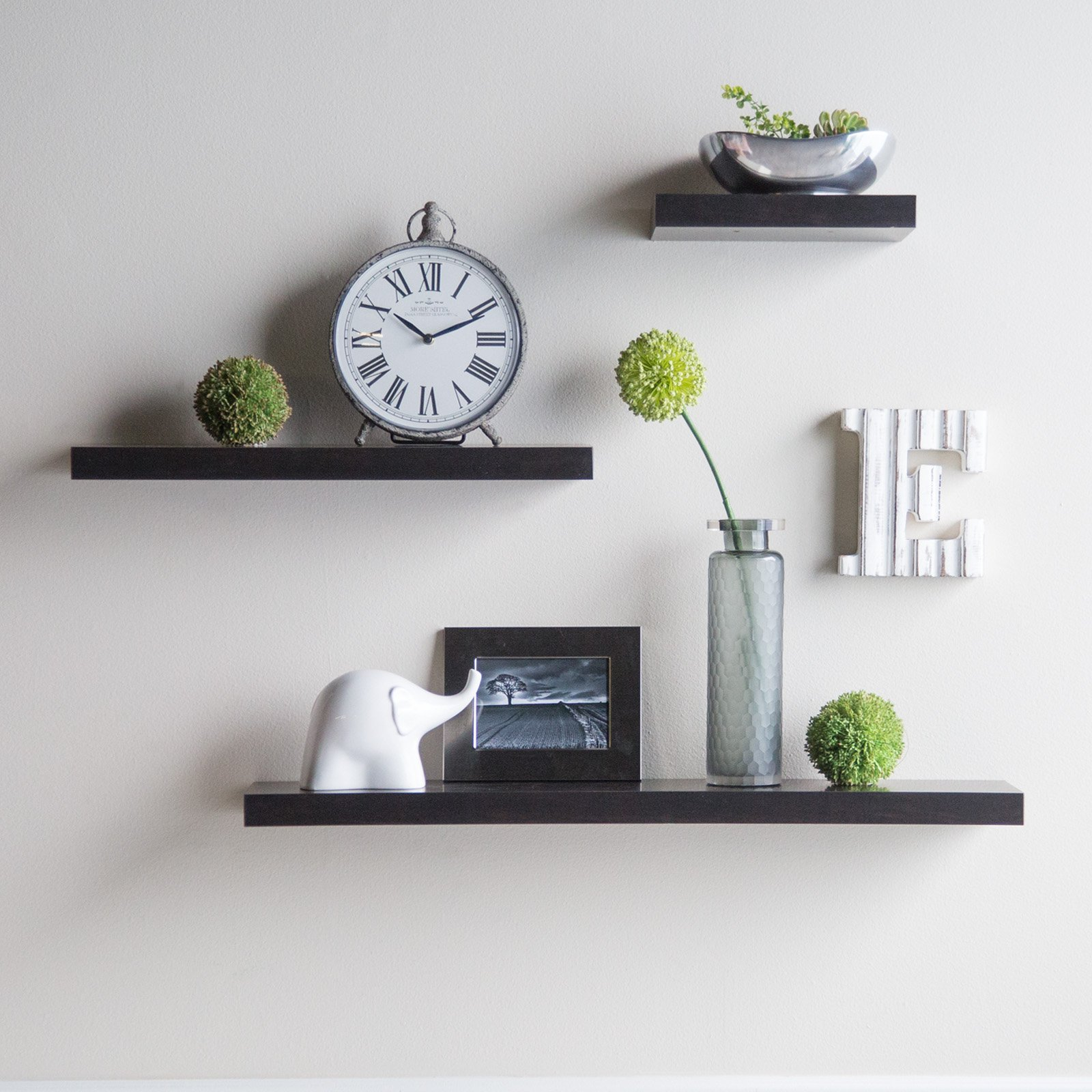Charming Hudson Easy Mount Floating Shelves   3 Pk. (36 In./24 In./12 In.)    Espresso   Walmart.com