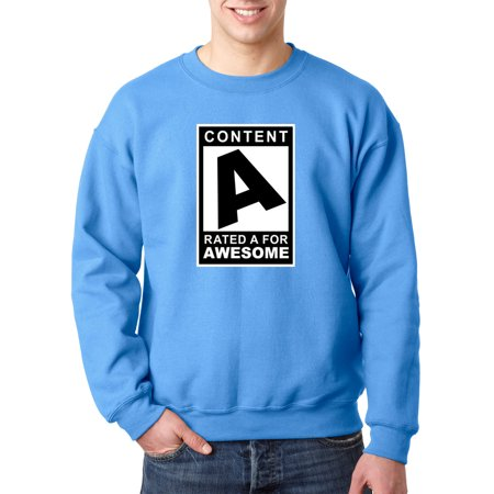 Trendy USA 1179 - Crewneck Content Rated A for Awesome Sweatshirt 4XL Carolina Blue