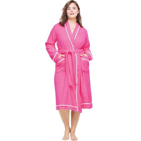 Dreams & Co. Plus Size Spa Terry Short Wrap - Spa Wrap Robe