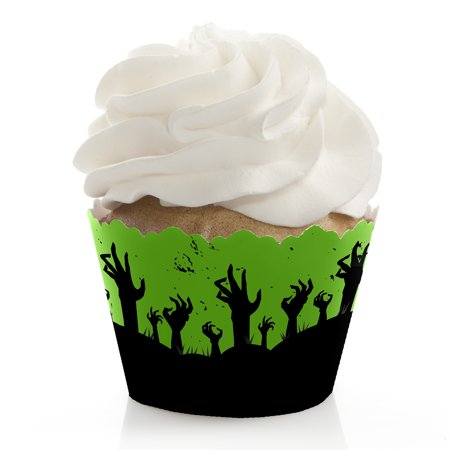 Zombie Zone - Halloween or Birthday Zombie Crawl Party Decorations - Party Cupcake Wrappers - Set of 12 - Halloween Cupcake Faces