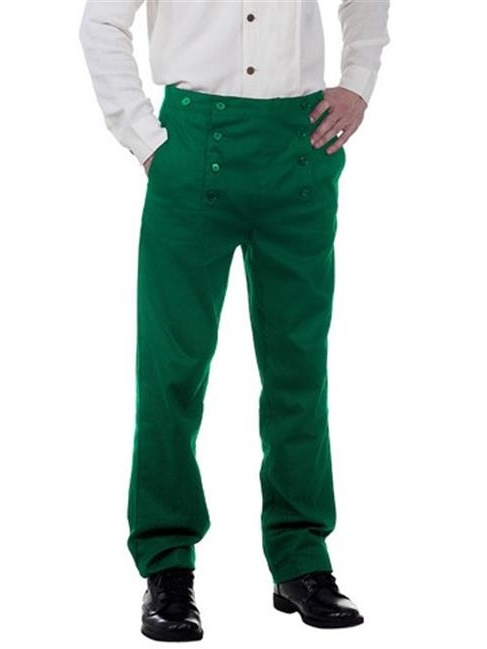 The Pirate Dressing C1403 Architect Mens Hundred Percent Cotton Pants, Green - Small