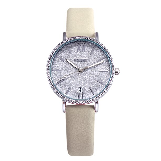 Fashion Women Brilliant Starry Night White Dial Quartz Watch Student Calendar Alloy Case PU Leather Band Wrist Watch