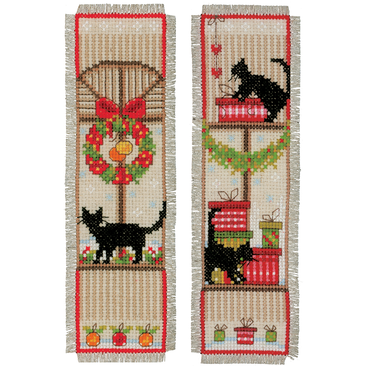 "Christmas Atmosphere Bookmarks On Aida Counted Cross Stitch -2.5""X8"" 14 Count Set Of 2"