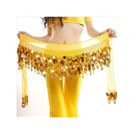 Belly Dance Gold Hip Scarf Skirt Wrap Chain Metal Coin Belt Dancing (Scarf Coin Belt Belly Dance)