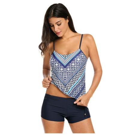 ea4599ef1960 OCTAP - Women Tankini Set Two Pieces Swimsuit Padded Top and Boy Shorts  Bottom Bathing Suit Swimwear Beach Wear DIRESOP - Walmart.com